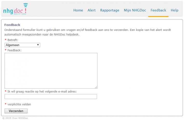 Voorbeeld van het Feedback formulier in NHGDoc